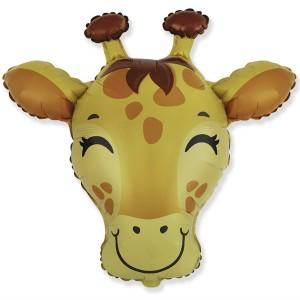 Фольгированный шар мини фигура Голова жирафа (Flexmetal)