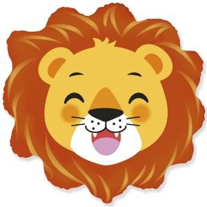 Фольгированный шар мини фигура Голова льва (Flexmetal)