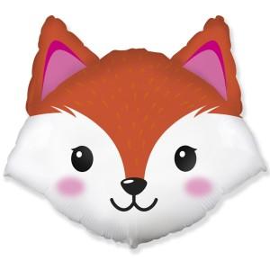 Фольгированный шар мини фигура Голова лисы (Flexmetal)