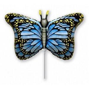 Фольгированный шар мини фигура Бабочка Синяя (Flexmetal)