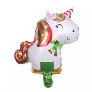 Фольгированный шар мини фигура Единорог новогодний (Китай)