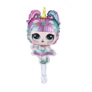 Фольгированный шар мини фигура Кукла LOL Единорог (Китай)
