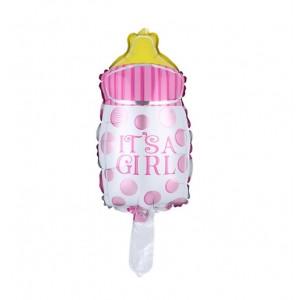 Фольгированный шар мини фигура Бутылочка в горошек Розовая (Китай)