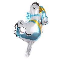 Фольгированный шар мини фигура Аист Голубой (Китай)