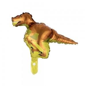 Фольгированный шар мини фигура Динозавр коричневый на желтом (Китай)