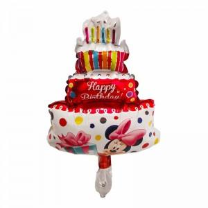 Фольгированный шар мини фигура Торт с Минни Маус Красный (Китай)