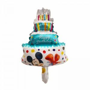 Фольгированный шар мини фигура Торт с Микки Маусом Голубой (Китай)