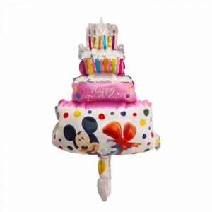 Фольгированный шар мини фигура Торт с Минни Маус Розовый (Китай)