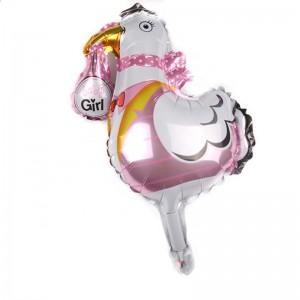 Фольгированный шар мини фигура Аист Розовый (Китай)