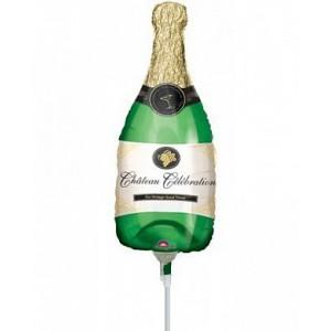 Фольгированный шар мини фигура Бутылка шампанского Зелёная (Китай)