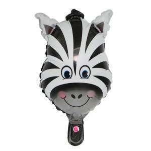 Фольгированный шар мини фигура Голова зебры (Китай)