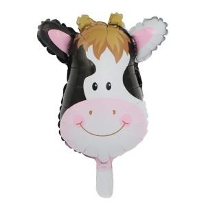 Фольгированный шар мини фигура Голова коровы (Китай)