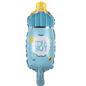 Фольгированный шар мини фигура Бутылочка Голубая (Китай)