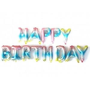 """Фольгированная надпись из букв """"Happy Birthday"""" Омбре (Китай)"""