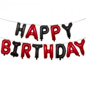 """Фольгированная надпись из букв """"Happy Birthday"""" Красно-чёрная (Китай)"""