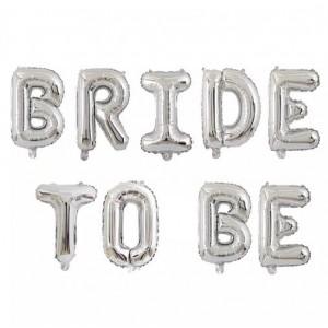 """Фольгированная надпись из букв """"Bride to be"""" Серебро (Китай)"""