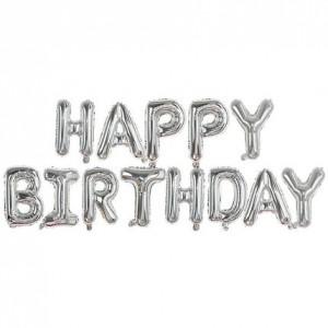 """Фольгированная надпись из букв """"Happy Birthday"""" Серебро (Китай)"""