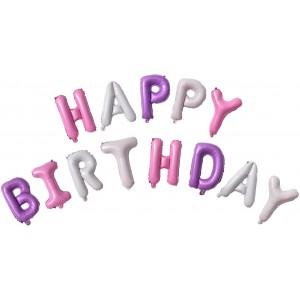 """Фольгированная надпись из букв """"Happy Birthday"""" Розово-сиреневая (Китай)"""