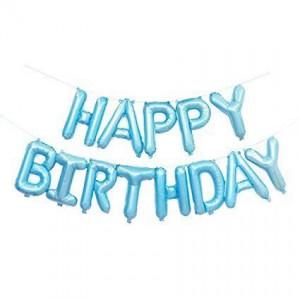 """Фольгированная надпись из букв """"Happy Birthday"""" Голубая (Китай)"""