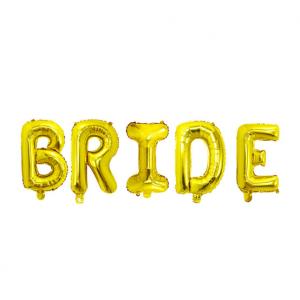 """Фольгированная надпись из букв """"BRIDE"""" Золото  (Китай)"""