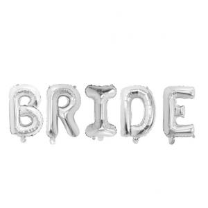 """Фольгированная надпись из букв """"BRIDE"""" Серебро  (Китай)"""