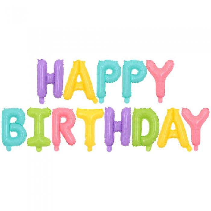 """Фольгированная надпись из букв """"Happy Birthday"""" Цветная матовая  (Китай)"""