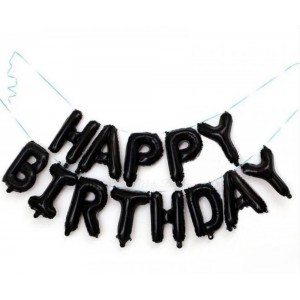 """Фольгированная надпись из букв """"Happy Birthday"""" Чёрная (Китай)"""