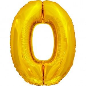 Фольгированный шар 28' (70 см) цифра 0 Золото (Китай)