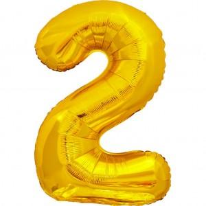 Фольгированный шар 28' (70 см) цифра 2 Золото (Китай)
