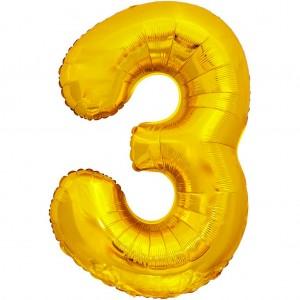 Фольгированный шар 28' (70 см) цифра 3 Золото (Китай)