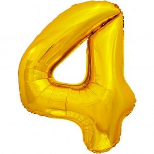 Фольгированный шар 28' (70 см) цифра 4 Золото (Китай)