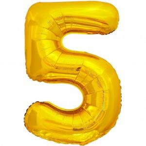 Фольгированный шар 28' (70 см) цифра 5 Золото (Китай)