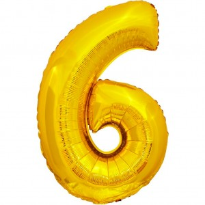 Фольгированный шар 28' (70 см) цифра 6 Золото (Китай)