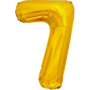 Фольгированный шар 28' (70 см) цифра 7 Золото (Китай)