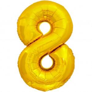 Фольгированный шар 28' (70 см) цифра 8 Золото (Китай)