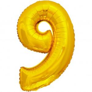 Фольгированный шар 28' (70 см) цифра 9 Золото (Китай)