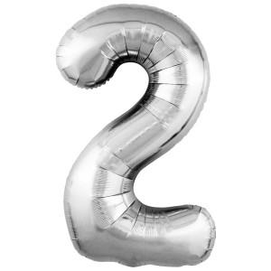 Фольгированный шар 40' (102 см) цифра 2 Серебро Slim (Agura)