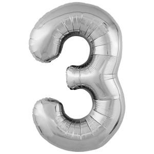 Фольгированный шар 40' (102 см) цифра 3 Серебро Slim (Agura)