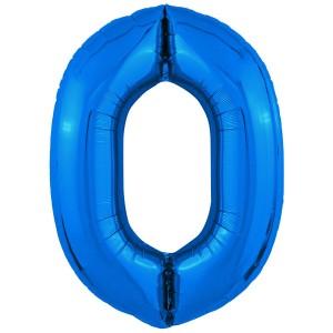 Фольгированный шар 40' (102 см) цифра 0 Синий Slim (Agura)