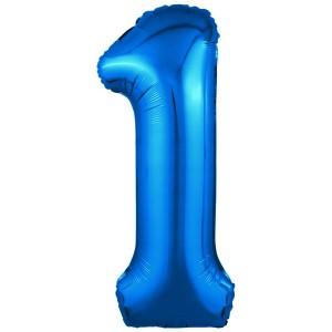 Фольгированный шар 40' (102 см) цифра 1 Синий Slim (Agura)
