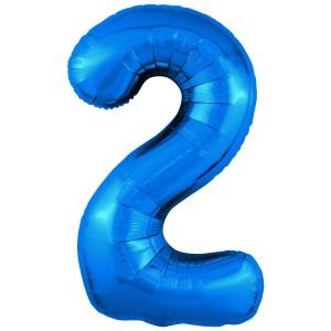 Фольгированный шар 40' (102 см) цифра 2 Синий Slim (Agura)