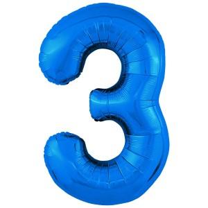 Фольгированный шар 40' (102 см) цифра 3 Синий Slim (Agura)