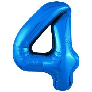 Фольгированный шар 40' (102 см) цифра 4 Синий Slim (Agura)
