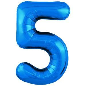 Фольгированный шар 40' (102 см) цифра 5 Синий Slim (Agura)