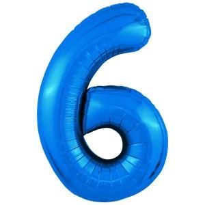 Фольгированный шар 40' (102 см) цифра 6 Синий Slim (Agura)