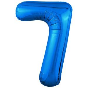 Фольгированный шар 40' (102 см) цифра 7 Синий Slim (Agura)