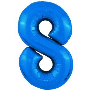 Фольгированный шар 40' (102 см) цифра 8 Синий Slim (Agura)