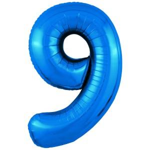 Фольгированный шар 40' (102 см) цифра 9 Синий Slim (Agura)