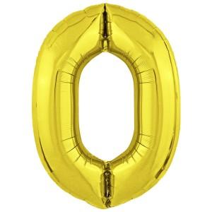 Фольгированный шар 40' (102 см) цифра 0 Золото Slim (Agura)