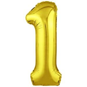 Фольгированный шар 40' (102 см) цифра 1 Золото Slim (Agura)